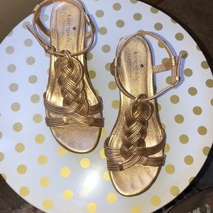Kate Spade Gold wedge size 6 1/2